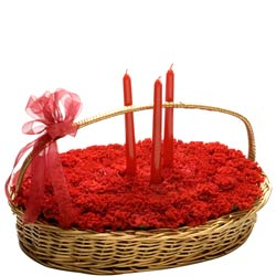 40 Red Carnations nicely arranged in a large basket with 3 Birthday candles