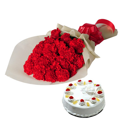 25 Red Carnations wrapped in a colour paper with 1kg Pineapple cake