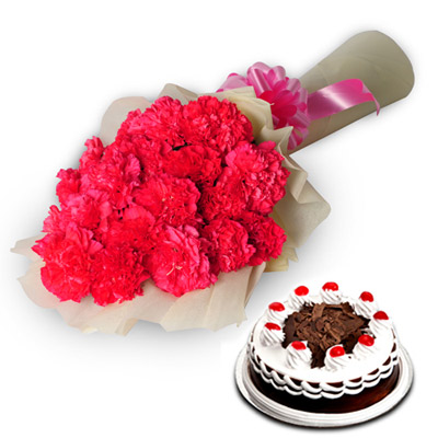 25 Pink Carnations wrapped in a colour paper with 1kg Black forest cake