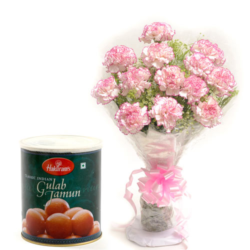 12 Pink Carnations wrapped in a cellophane paper with 1kg Gulab jamoon