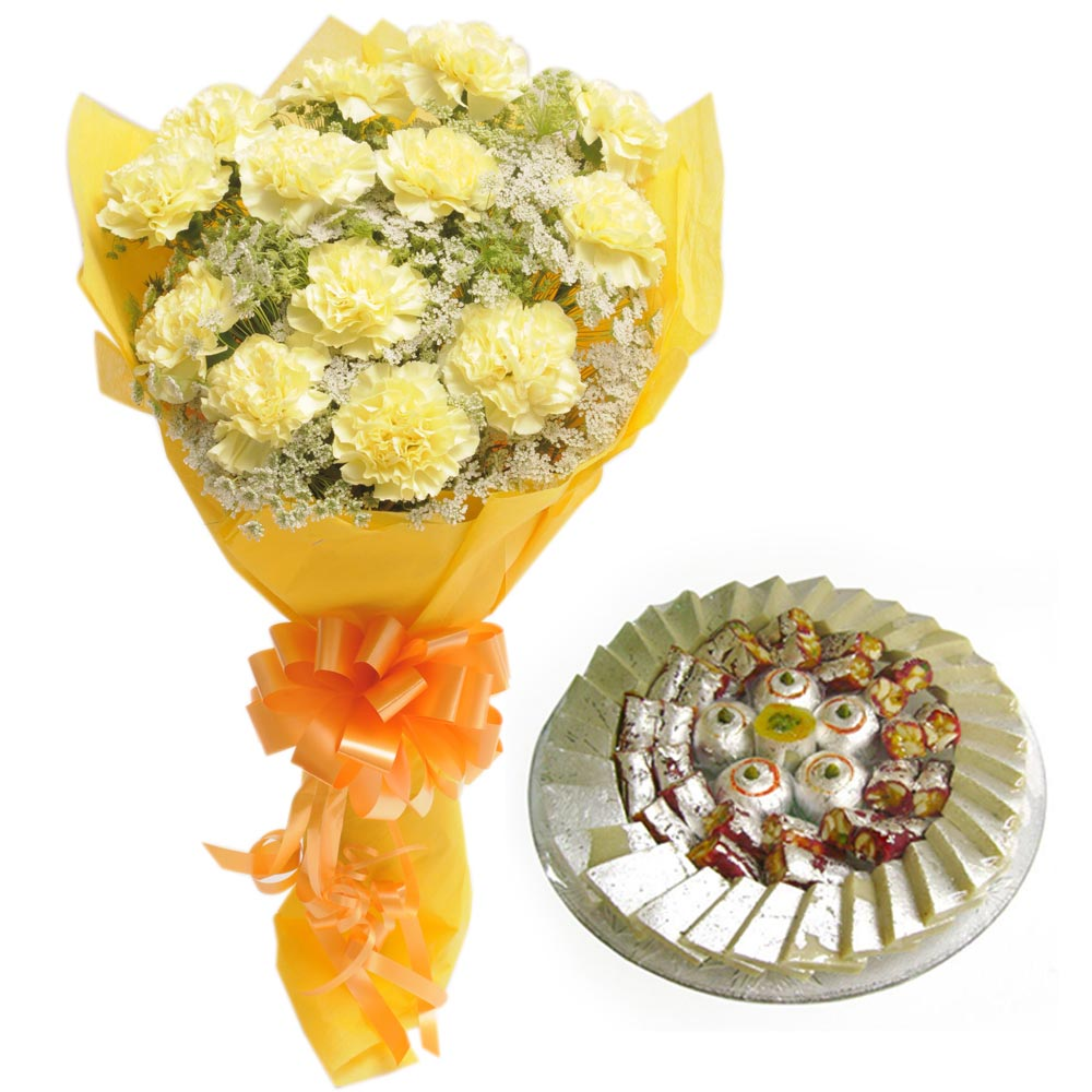 15 Yellow Carnation wrapped in a colour paper with 1kg Mixed sweets
