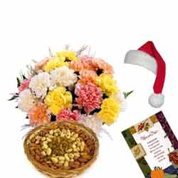 10 Mix Colour Carnations with 500gms Dry fruits basket