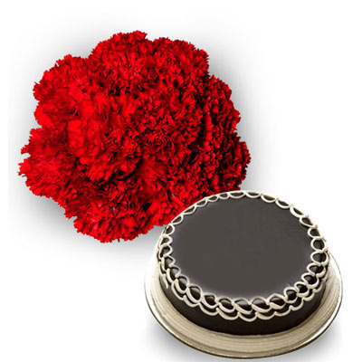 12 Red Carnations bunch with 500gms Chocolate cake