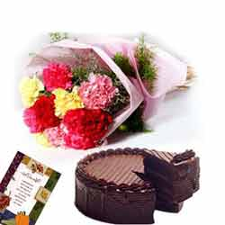 12 Mix Carnations bunch with 500gms chocolate cake,Greeting card