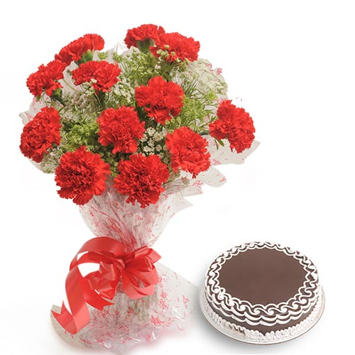 12 Red Carnations wrapped in a cellophane paper with 500gms chocolate cake