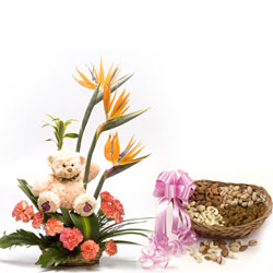 10 Orange Carnations and 3 Orange Bop arranged in a small basket with 500gms Dry fruits ,6inch Teddy bear