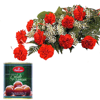 12 Red Carnations wrapped in a colour paper with 1kg Gulab jamoon