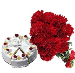 12 Red Carnations bunch with 1kg pineapple cake