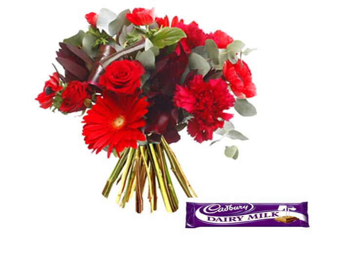 6 Red Roses and Carnations bouquet with 18gms Cadbury chocolate