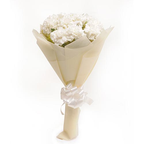 10 White Carnations packed in a colour paper with ribbon