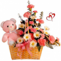 10 Yellow Gerberas 10 Red carnations arranged in a cane basket with Teddy bear,Greeting card