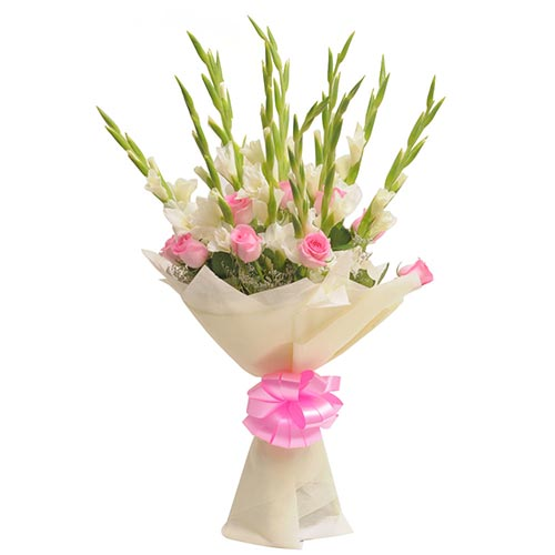 10 Pink Roses and 10 White Glads packed in a colour paper