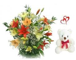 15 Mixed Colour Lillies arranged in a large basket with Teddy bear,Greeting card