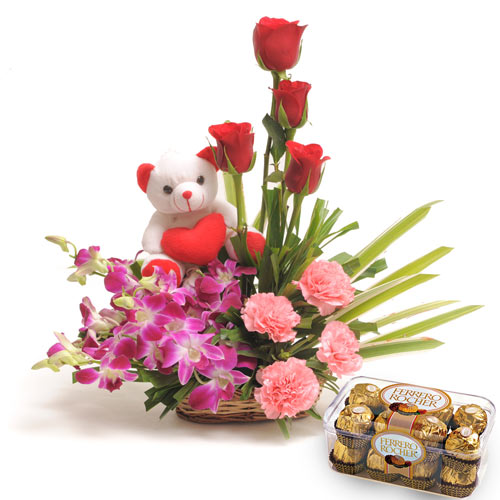 12 Mixed Flowers arranged in a large basket with ferro rocher,Teddy bear