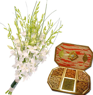 7 White Orchids with 500gms dry fruits