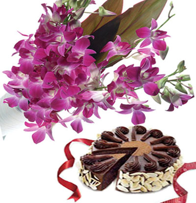 6 Purple Orchids with 500gms chocolate cake