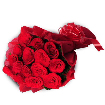 15 Red Roses packed in a colour paper with ribbon
