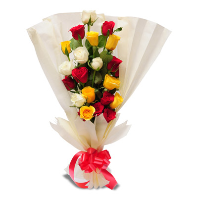 Mixed Roses packed with white paper