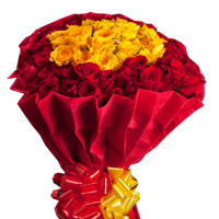25 Red and 25 Yellow Roses bunch packed in a colour paper