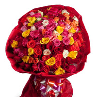 100 Mixed Roses bunch in a colour paper