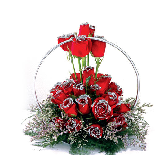 20 Red Roses arranged in a special silver basket