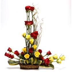 30 Red and Yellow Roses in a basket