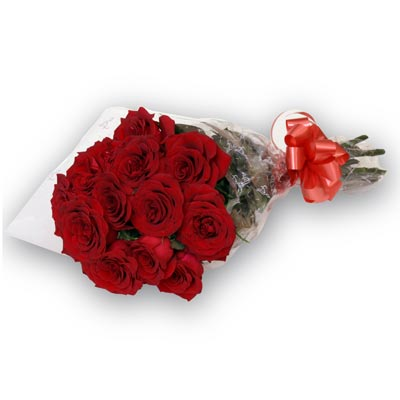 12 Red Roses packed in a cellophane paper with ribbon
