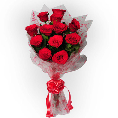 12 Red Roses in a cellophone paper with ribbon