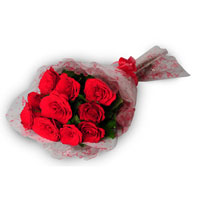 10 Red Roses in a cellophane paper
