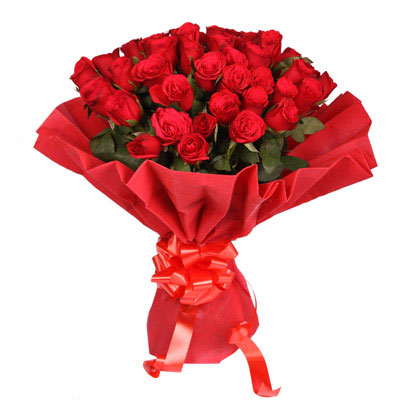 40 Red Roses arranged in a colour paper with ribbon