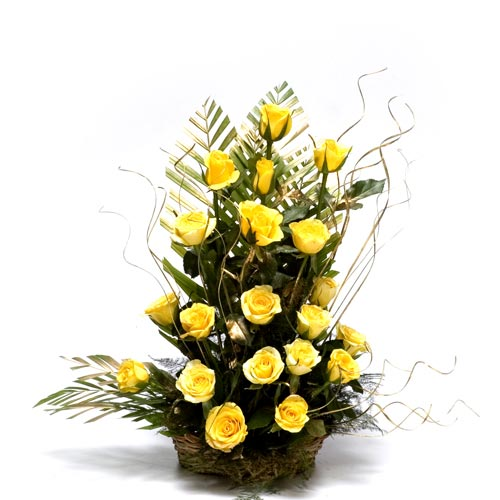 20 Yellow Roses arranged in a large basket