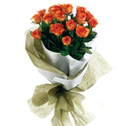 18 Orange Roses packed in a colour paper