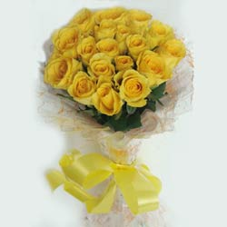 20 Yellow Rose wrapped in a cellophane paper