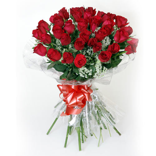 40 Red Roses wrapped in a cellophane paper