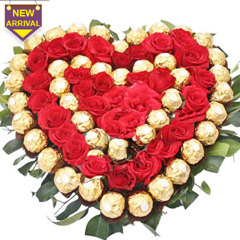 40 Red Roses and 40 ferro rocher pieces arranged in a heart shape