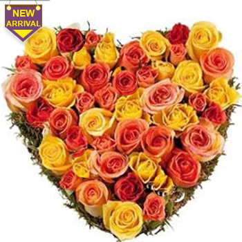 50 Orange and Yellow Roses arranged in a heart shape