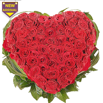 50 Red Roses arranged in a heart shaped large basket