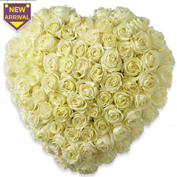 100 White Roses arranged in heart shaped large basket