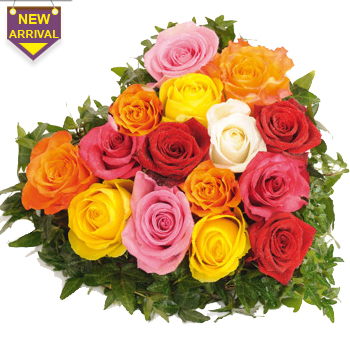 15 Mixed Roses arranged in a heart shape