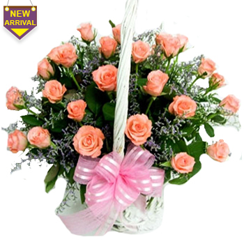 30 Pink Roses arranged in a cane basket