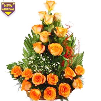 20 Orange Roses arranged in a large basket