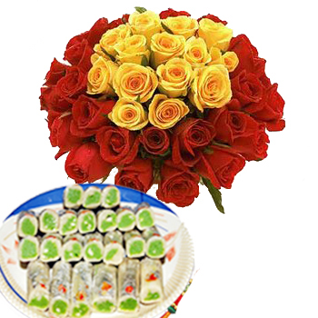 12 yellow rose bunch with  500gms Kaju rolls