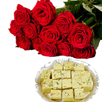 12 Red Roses bunch with 500gms  Soan papdi