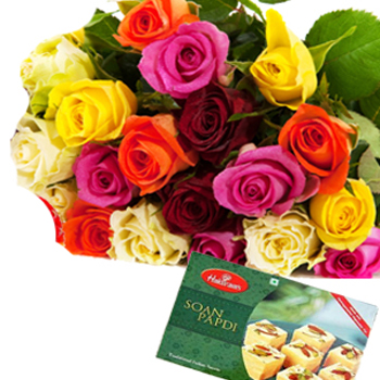 20 Mix Colour Roses with 1kg Soan papdi