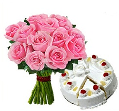 12 Pink Roses bunch with 500 gms  Pineapple cake