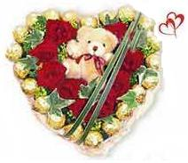 12 Red Roses bunch with Ferro rocher 24 pcs,6inch Teddy bear
