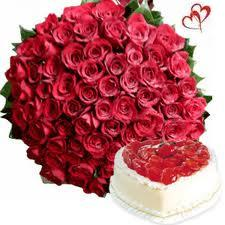 50 Red Roses bouquet with 1kg Heart shape Pineapple cake