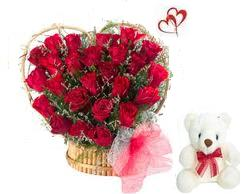 25 Red Roses heart shape arranged in a large basket with 6inch Teddy bear
