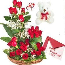 25 Red Roses arranged in a large basket with 6inch Teddy bear