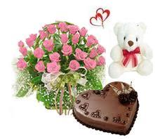 25 Pink Roses bouquet with Teddy bear 6inch,1kg Heart shape Chocolate cake